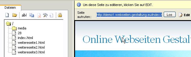 Übersicht online Webseiten erstellung